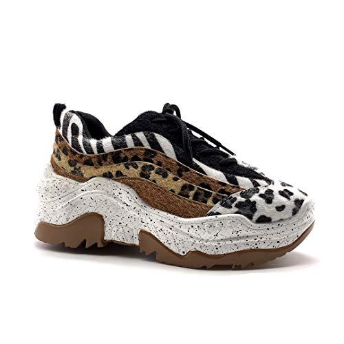 Angkorly – modieuze schoenen, sneakers, streetwear, sporty, chic, plat, voor dames, bedrukt, luipaardpatroon, zebrapatroon, wigha, platform 5,5 cm