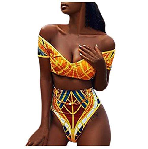 GOKOMO Frauen African Print Bikini Set Bademode Push-Up gepolsterter BH Badeanzug Beachwear(Gelb-B,Large)