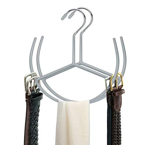 Hangerspace 2 Pack Space Saving Belt Hanger Belt Rack Holder Scarf Hanger Tie Belt Organizer for Closet Gray