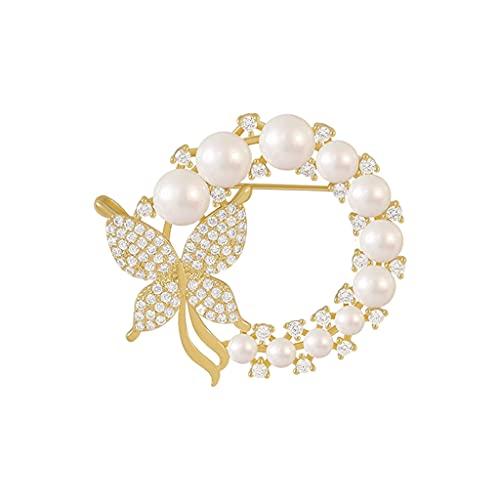 Sharplace Perla de Mujer Hermosa Mariposa Broche de Flores de Diamantes de imitación Moda Boda Flor Broche de Animales en Ramo de Boda