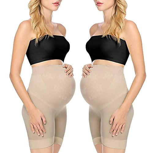 Maternity Dress Shapewear Underwear Photoshoot Gown Pregnancy Shorts Pettipants 2Pcs Nude L