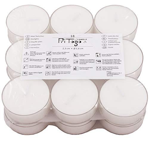 Pritogo Teelichter Maxi XXL Kunststoffhülle, [18 Stück] Ø 5,8 * 2,2 cm, Rußfrei, ohne Duft, Gastronomie Qualität