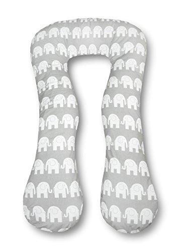 Amilian Schwangerschaftskissen zum Schlafen Lagerungskissen Seitenschläferkissen ink.Bezug Erwachsene Baby Bed universell groß Elefant grau TYP A pregnancy pillow bodypillow