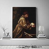 祈りの聖フランシスカラヴァッジョキャンバス絵画装飾壁アート写真ホームリビングルーム装飾プリントポスター60x80cm(23.6x31.5インチ)フレームなし