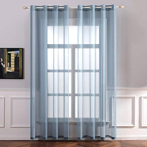 MIULEE 2er Set Sheer Voile Vorhang mit Ösen Transparente Gardine aus Polyester Ösenschal Transparent Wohnzimmer Luftig Dekoschal für Schlafzimmer 140 X 225 cm (B x H), Rod Pocket Staubiges Blau
