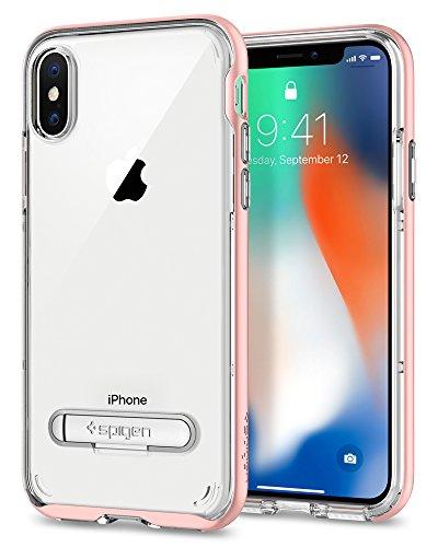 Spigen Funda iPhone X, [Crystal Hybrid] Water-Mark Libre TPU y Kickstand de Metal magnético para iPhone X (2017) [Oro Rosa]