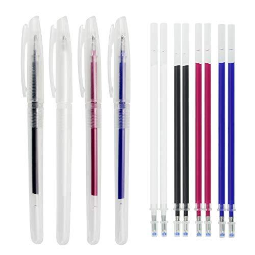 KBNIAN 4 Stück Markierstifte mit Wiederbeschreibbarer Stoffmarkierungsstift Hitze Löschbar Stifte und 8 Ersatz Nachfüllen Als Temporäre Markierung während des Nähens verwenden(Weiß/Rot/Blau/Schwarz)