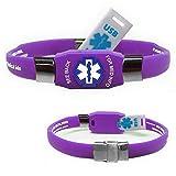 Waterproof ELITE USB purple silicone medical alert ID bracelet with 2 GB USB