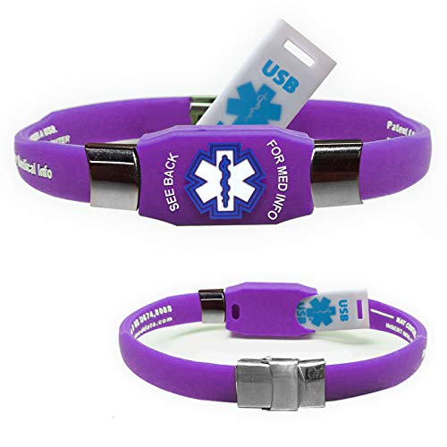 Waterproof ELITE USB purple silicone medical alert ID bracelet with 2 GB USB