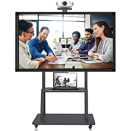 SSZY Soporte TV Trole Soporte de TV para TV de 55+ Pulgadas con 2 Espacios de Almacenamiento, Carro de TV Móvil Rodante Negro con Ruedas, Soportes de TV de Piso Modernos de Altura Ajustable