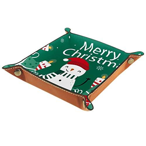 Männer Frauen Schmuck Schlüsselfach,Ordentlich Tablett,Frohe Weihnachten Schneemann Geschenk Kerzen Grün Rot,Taschenleerer Leder,Elegantes Geschenk