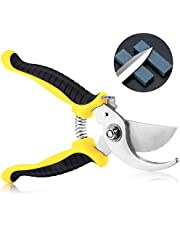 "Garden Pruning Shears, 7.5"" Professional Bypass Secateurs, Hand Gardening Cutter with Straight Stainless Steel Blade, Ultra Sharp Clippers Scissors for Trimming Fruits, Flowers, Plants"