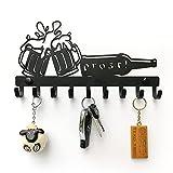 ELFSELF Colgador de llaves para la pared, en diseño para todos los amantes de la cerveza, todo organizado con el llavero, 9 colgadores, bandeja para llaves de metal negro, 28 x 14,7 cm
