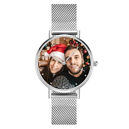Lifiiboost Personalisierte Foto Armbanduhr für Damen Herren Analog Metallarmband in Silber/Rosegold Klassisch Zifferblatt Wasserdicht