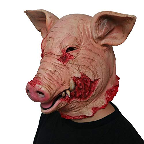 N/P Latex Horror Schweinemaske Unisex Halloween Kostüm Scary Saw Schweinemaske Vollkopf Horror Evil Animal Prop OneSize Red