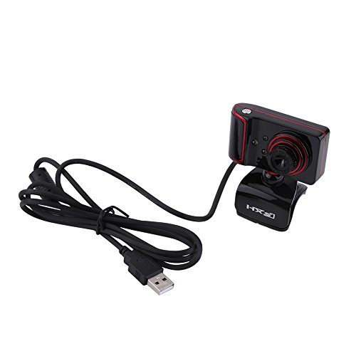Richer R HD Webcam 160M Pixel HD WebcamUSB HD Webcam mit 3 LED LichterDigital Video HD Eingebautes Mikrofon LED Leuchten Webcam fur PC Computer 3 FarbenRedBlack