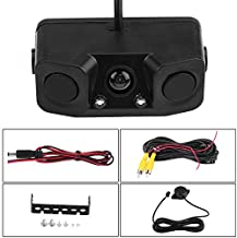 Qiilu 3 in 1 Car Backup Camera Reversing Video Rearview Camera with Backup Radar System Detector and Parking Sensor, Waterproof for Universal Vehicles