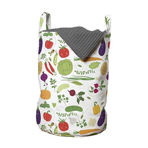 ABAKUHAUS Vegetal Bolsa de lavandería, vegetariana repollo, Cesta con asas Cierre de cordón para las lavanderías, 33 x 33 x 49 cm, Multicolor
