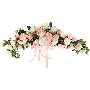 Backbayia Artificial Rose Flower Swag Silk Fake Flower Wreath Garland Door Wall Decor for Wedding