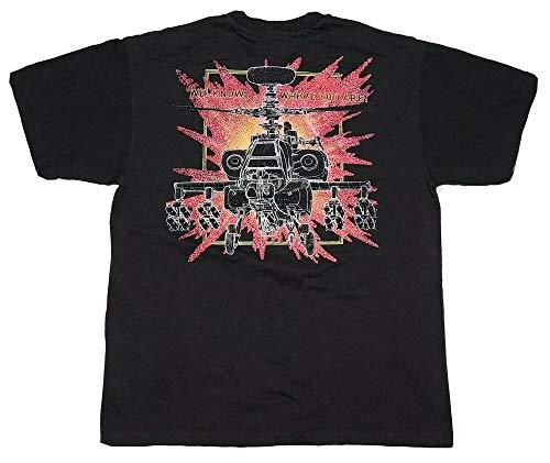 90S Us Military Apache Helicoptor Vaporwave Fear Propoganda T-Shirt Color: Black,Size: L
