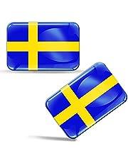 2 x sticker 3D gel siliconen stickers Sweden Zweden vlag vlag auto motorfiets raam deur PC mobiele telefoon tablet laptop F 47