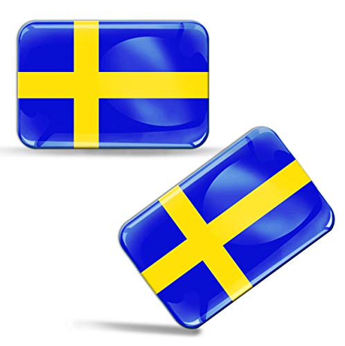 Biomar Labs® 2 x Aufkleber 3D Gel Silikon Stickers Sweden Schweden Schwedische Flagge Fahne Flag Auto Motorrad Fahrrad Fenster Tür PC Handy Tablet Laptop F 47