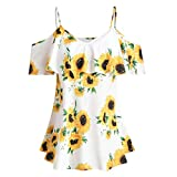 Forwelly Women Discount Plus Size Clothing Sunflower Printed Ruffles Cold Shouder Short Sleeve Tops (XL, White)