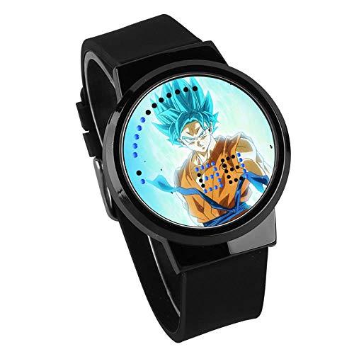 Reloj para Niños,Reloj De Pantalla Táctil LED Creativo Reloj De Animación Dragon Ball Super Saiyan Reloj Impermeable Pistola Color Caja Correa Negra, E