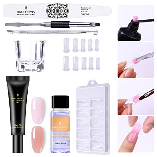 BORN PRETTY Pink Nude Nail Quick Building Poly Quick Gel Set 20ml Jelly Builder Finger Extension UV Gel Lacquer 9 Pcs/Set