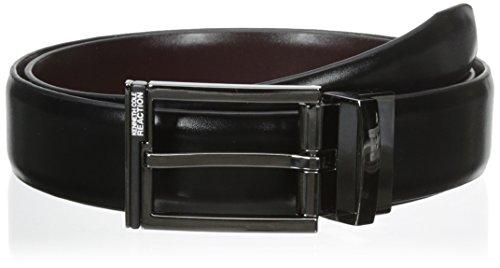 Kenneth Cole REACTION Men's 1 1/4 in. Feather Edge Dress Reversible Belt, Black/Burgundy, 32