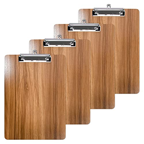 Oak-Pine A5 Size Memo Clipboards - 9 x 6.1 inches Premium Wood Grain Small File Clipboards Low Profile Clip Rounded Corners and Hanging Hole Design for Office, Business, School, Set of 4 (Brown)