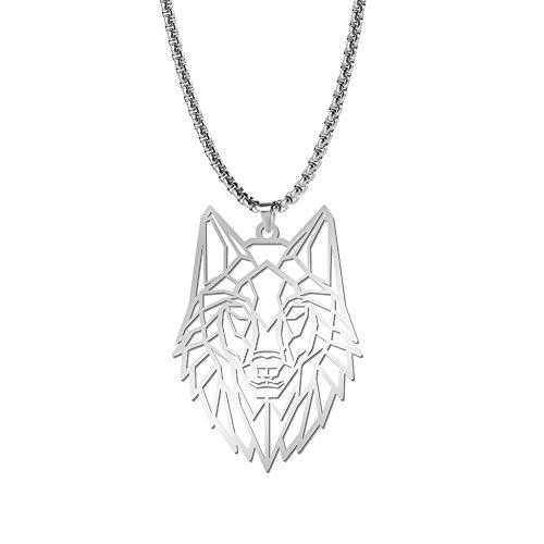 cooltime Animal Lover Edelstahl Halskette mit Wolfsanhänger geometrischer Schmuck (Wolf # 1)