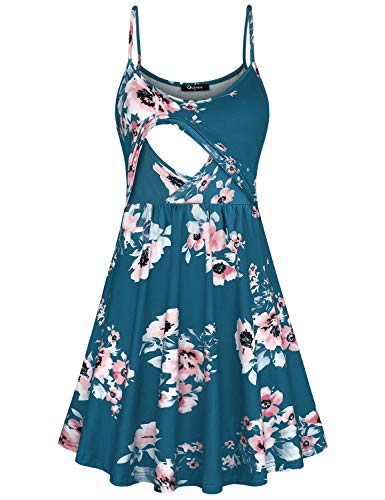Quinee Blue Maternity Dress, Ladies Semi Formal Party Floral Printed Pattern Nursing Cami Breast Feeding Dress Above Knee Length Pregnancy Clothes for Women with Empire Waist M