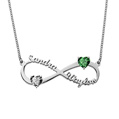 Elfata Namenskette Damen Persönalisierte Infinity Namen Halskette Silber 925 Anhänger mit Geburtsstein Schmuck für Frauen (#1)