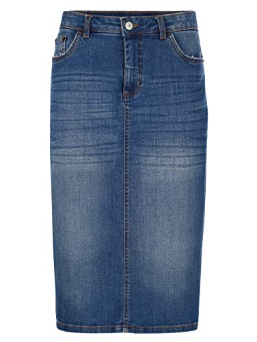 Dress in Damen Gerade Knielange Jeansrock in Blue bleached aus Baumwolle in moderner Waschung