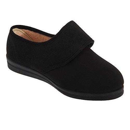 Comfylux - Zapatillas de estar por casa modelo Stella de ancho especial para mujer (41/Negro)