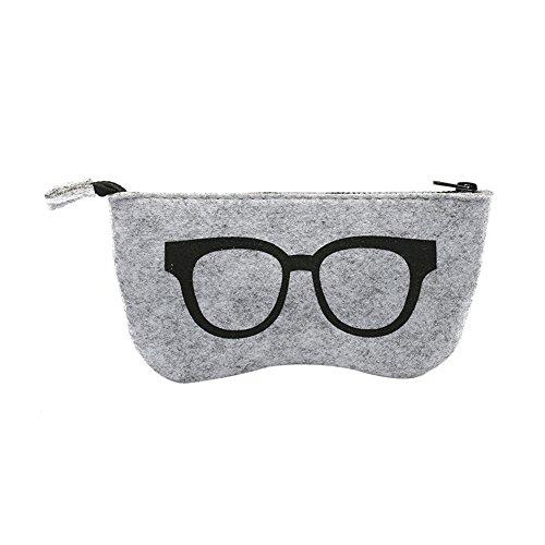 wsloftyGYd Wool Felt Women Glasses Eyewear Zipper Bag Storage Case Sunglasses Box Portable Black