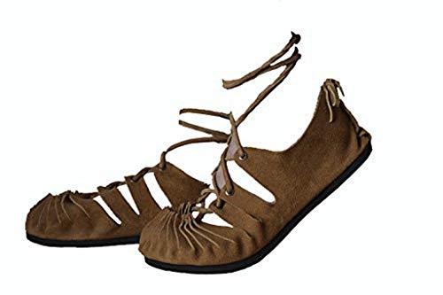 Sandalen Damen Bundschuhe Bollywood Strand Urlaub Hippie Ethnic Party Römer Herbst Yoga Sandaletten Frühling Sommer Mädchen Frauen Mittelalter Schnürsandalen schnüren Sandals Unisex (42 EU, Brown 2)