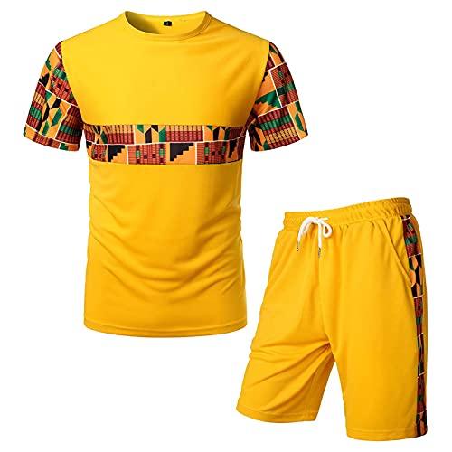 Afrika Ethnisch Drucken T-Shirt und Shorts Herren 2 Stück Freizeitanzug Quick Dry Jogginganzug Sommer Trainingsanzug 3D Drucken Streetwear Sport Outfits Männer 2-Teiliges Kurzarm Kurz Sportanzug