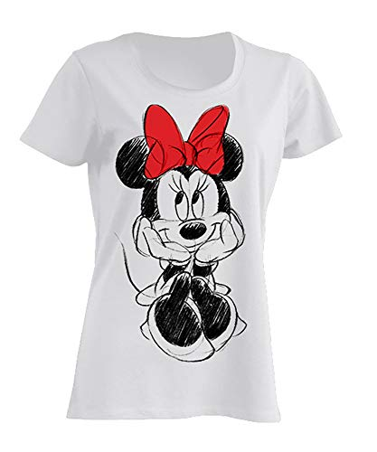 Disney Damen T-Shirt Minnie Mouse, M, Weiß