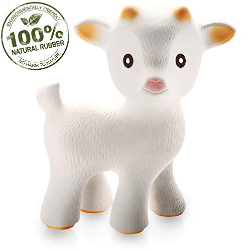 caaocho Pure Natural Rubber Baby Teether Toy - Sola The Goat - Without Holes BPA Free Teething Toy, All Natural, Textured for Sensory Play, Sealed Hole, Hole Free Natural Teether, Reaches Molars