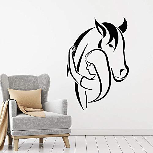 Arte Decoración Cabeza de caballo Pared Animales domésticos Amor Vinilo decorativo | Muy adecuado para dormitorio, aula, sala de estar, oficina.