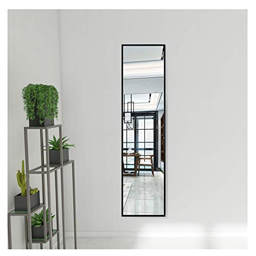 Beauty4U Full Length Mirror Wall-Mounted Hanging Mirror with Aluminum Alloy Frame for Bedroom Dressing Room Home Decor, Black, 48' x 12'