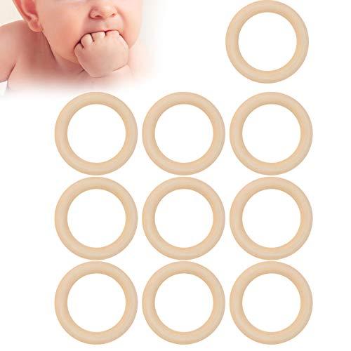 Aro de dentición de madera de calidad alimentaria Aros de madera para varios artículos de manualidades para que el bebé juegue o mastique durante la dentición(65mm, blue)