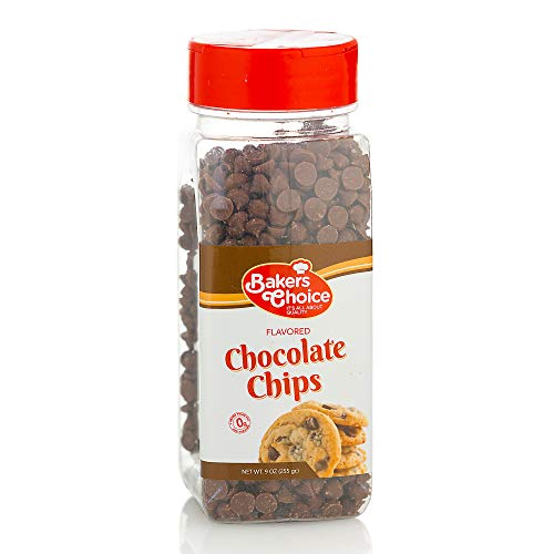 Chocolate Flavored Chocolate Chips – Baking Ingredient, Topping and Decoration Candy for Ice Cream, Desserts and Baked Goods, Non Dairy, Kosher - 9 oz. - Baker's Choice