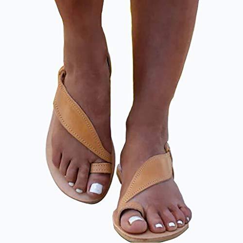 JXILY Frauen Flache Sandalen Mit Zehenringe-Frauen-Knöchel-Bügel-Bügel-Toe Buckle Lace-Up Slipper Roman Schuhe,Braun,42