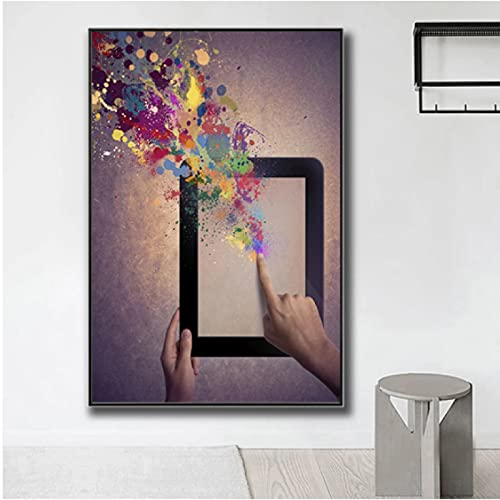 Tableta táctil de dedo, carteles de pintura decorativos coloridos en lienzo e impresiones en arte de pared para sala de estar, imagen de hogar (50X70Cm) -20x28 pulgadas, sin marco