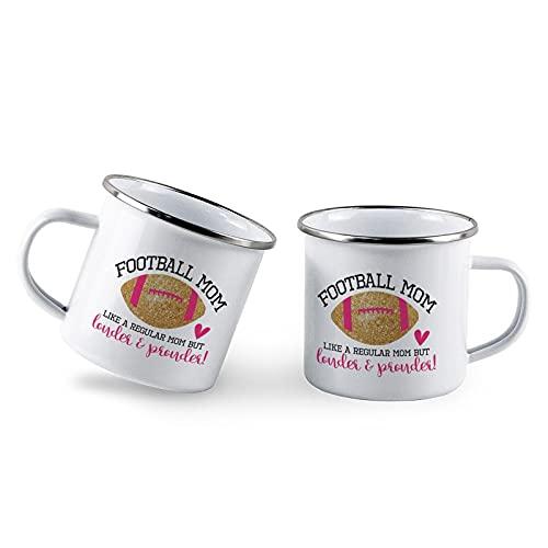 Football Mom, Sports S, Fútbol, equipo, madre del fútbol, mamá, padre, taza de café esmaltada personalizada, juego de 2 tazas de té de metal esmaltadas blancas de 10 onzas