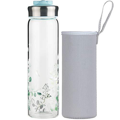 Life4u Botella de Agua de Cristal de Borosilicato Botella de Agua de Vidrio con Funda de Neopreno Sin BPA 700 ml (Azul)