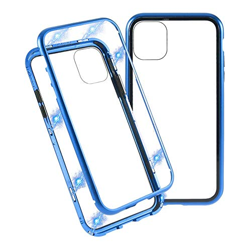 Best Shopper - Magnetic Adsorption Metal Frame Tempered Glass Phone Cover Case for Apple iPhone 11 6.1'' - Blue